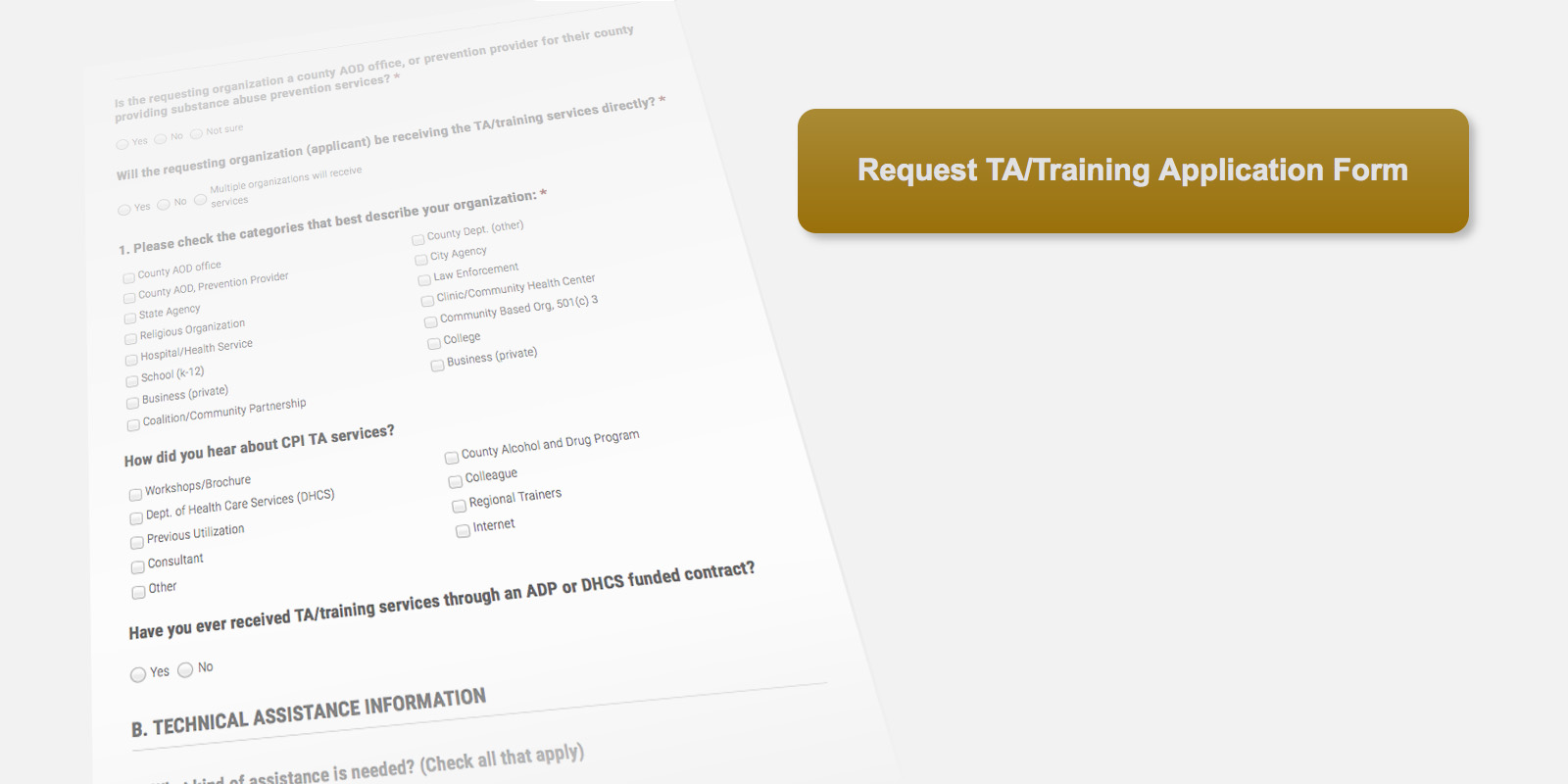 Request TA/Training Application Form for the Community Prevention Initiative (CPI) Project