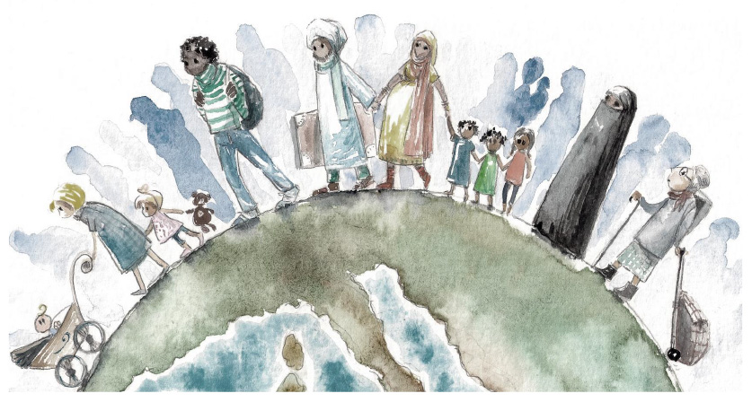 Watercolor image of people of many cultures, races, and ages standing around the surface of a globe
